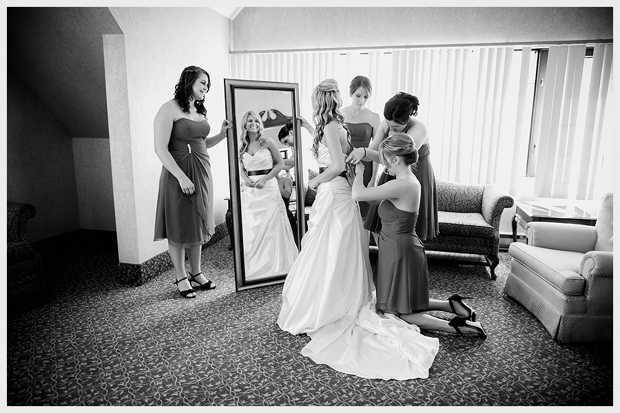 A bride and bridesmaids