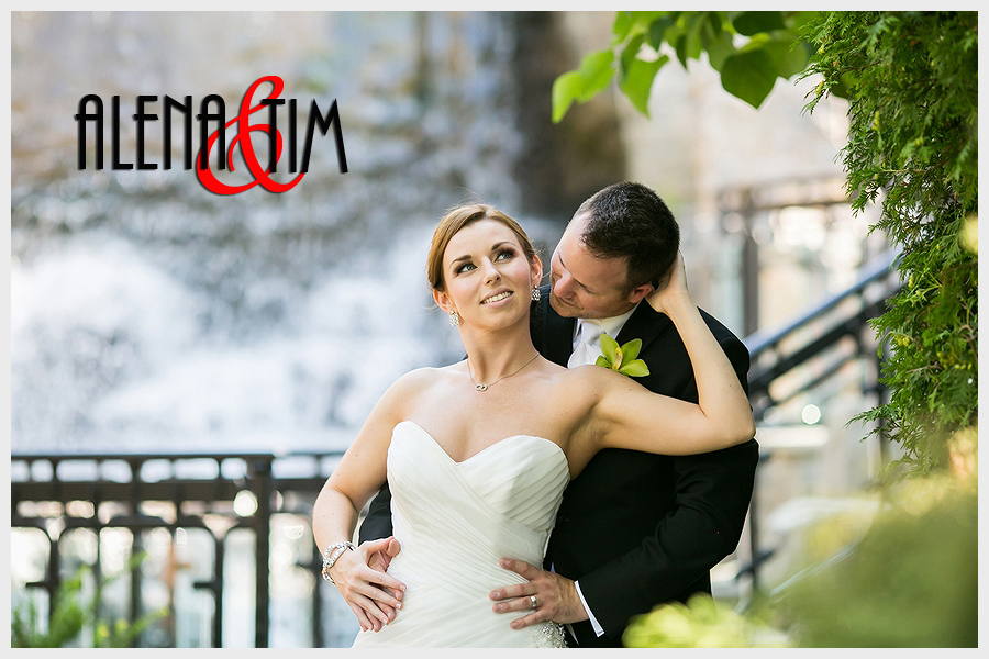 Bride and groom at the Ancaster Mill