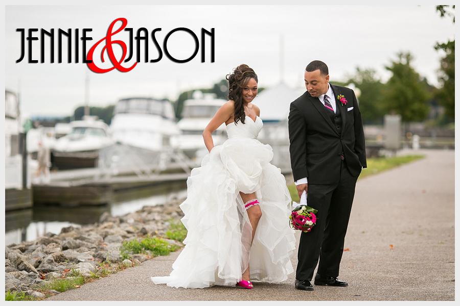 Brida and groom near lake