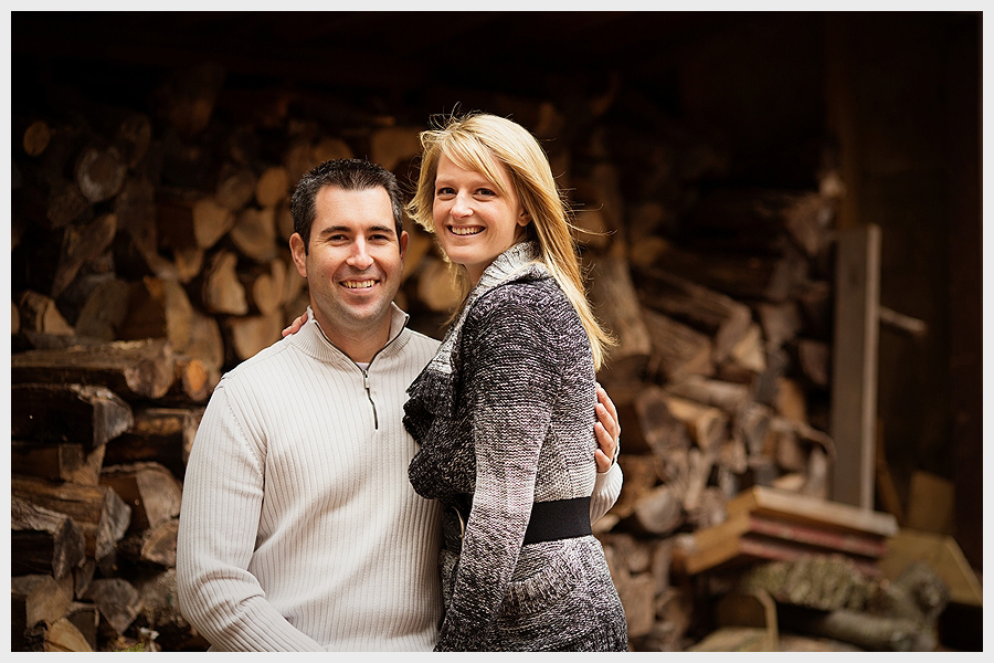 Couple by firewood