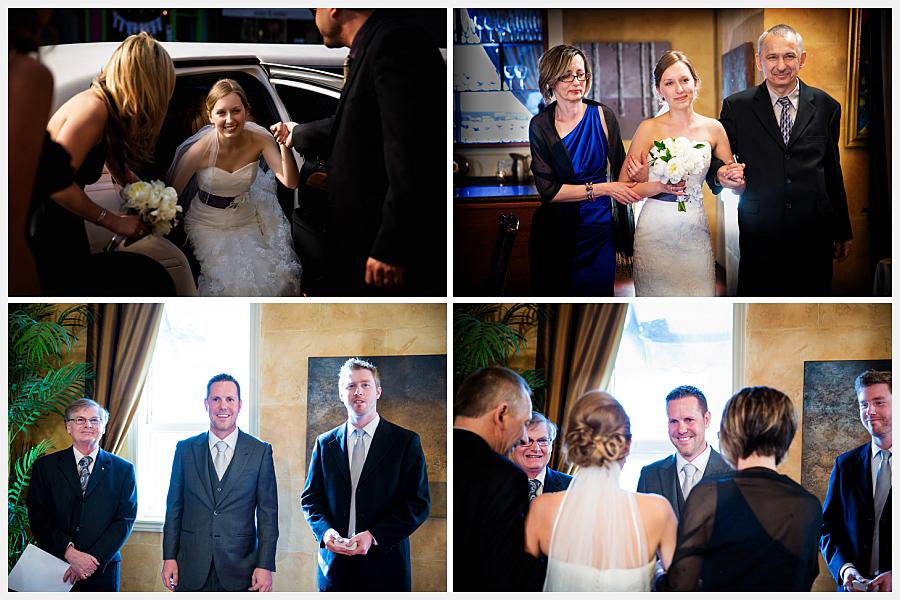 Bride escorted by parents