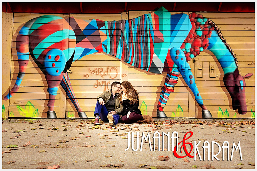 Engagement Photography couple with graffitti
