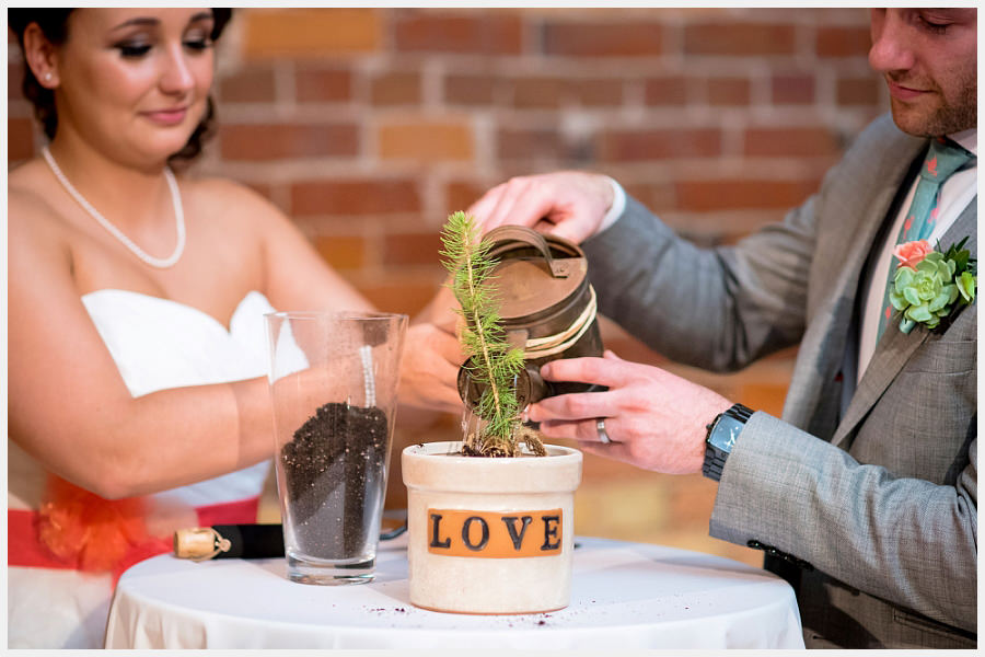 Bride and Groom plant a tree at the Gladstone Hotel